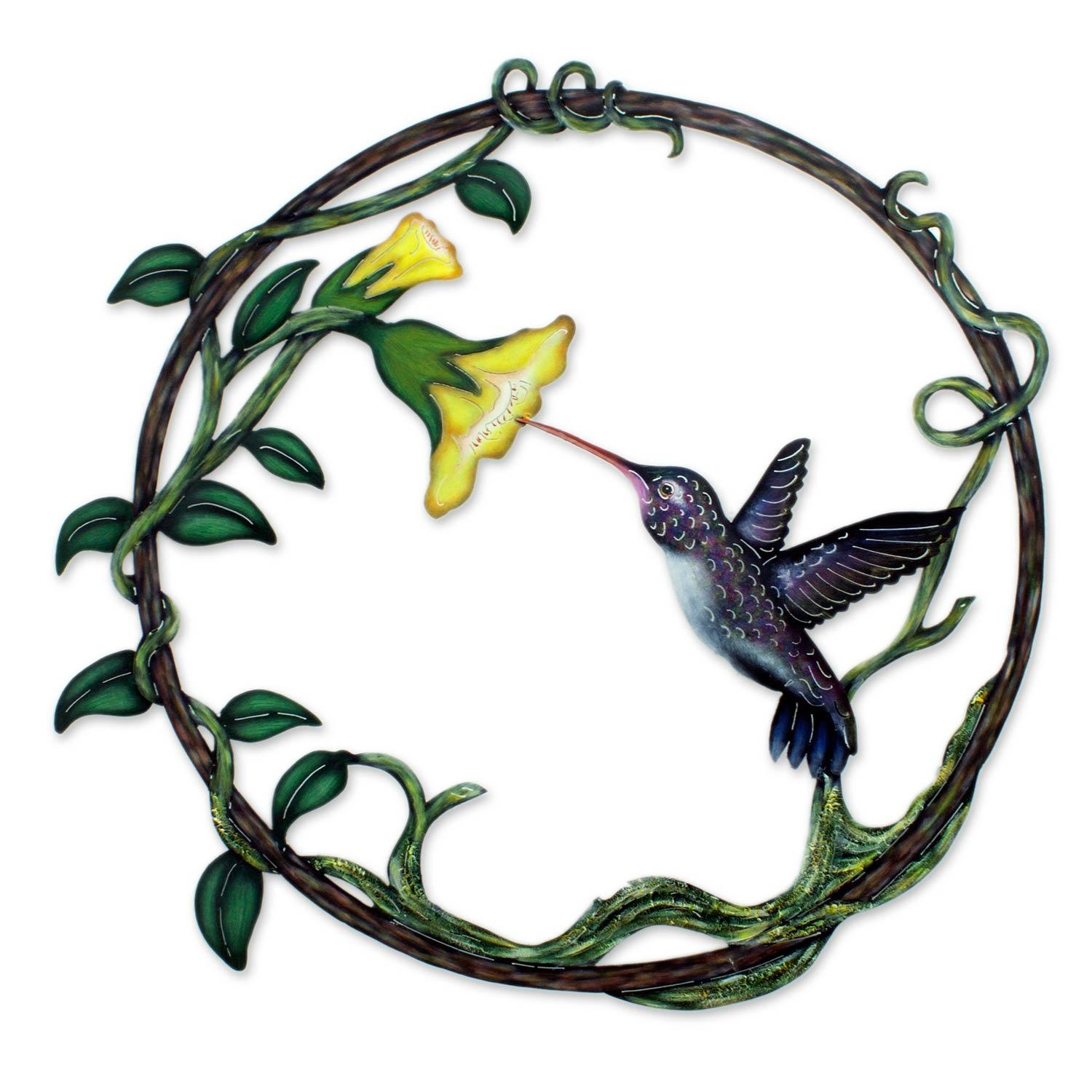 Handcrafted Bird Metal Art For The Wall – Paradise Hummingbird With Hummingbird Metal Wall Art (Image 5 of 20)