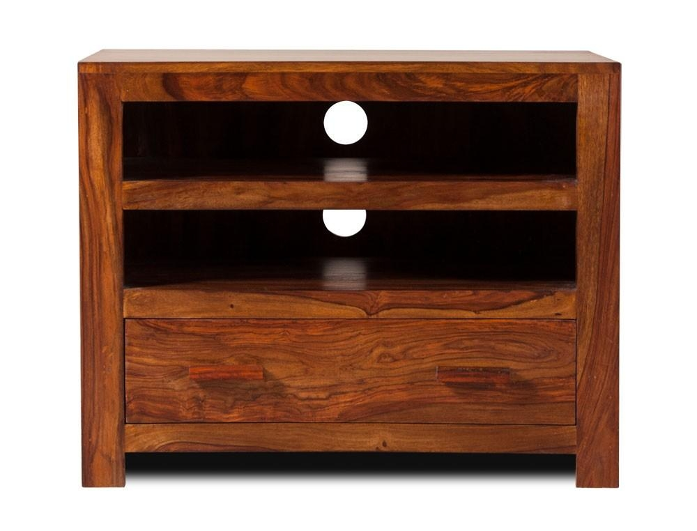 Handcrafted Solid Wood Tv Unit – Small | Casa Bella Furniture Uk Within Best And Newest Sheesham Tv Stands (Image 6 of 20)