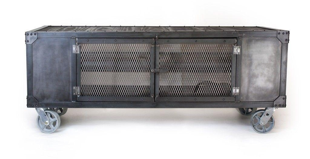 Handmade Rolling Steel Media Cabinet, Industrial Occasional Table For 2018 Industrial Metal Tv Stands (Image 7 of 20)