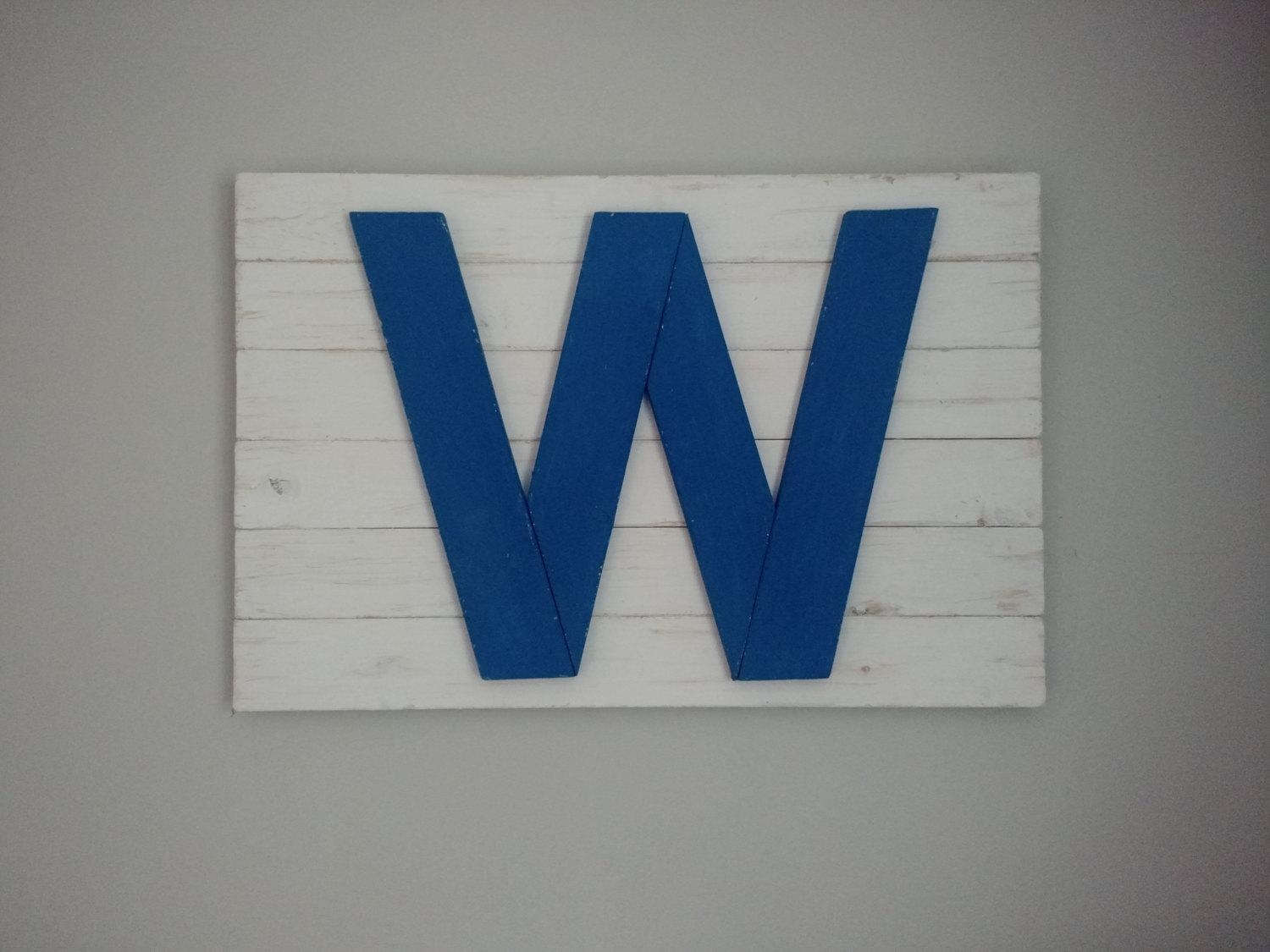 Handmade Rustic Chicago Cubs W Flag Chicago Flag Art Home For Chicago Cubs Wall Art (View 16 of 20)