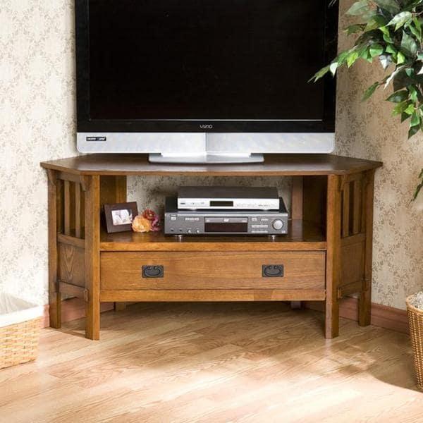 Harper Blvd Chenton Oak Corner Tv Stand – Free Shipping Today Regarding Recent Dark Wood Corner Tv Stands (Image 14 of 20)