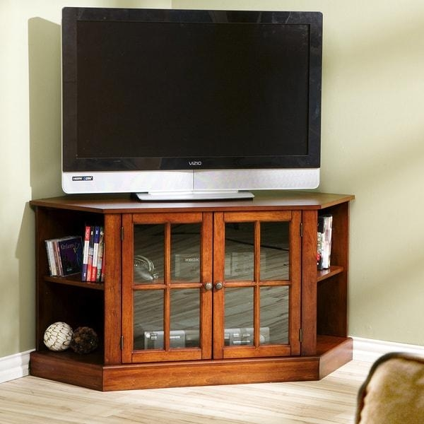Harper Blvd Crescent Walnut Corner Tv Stand – Free Shipping Today With Regard To Current Walnut Corner Tv Stands (View 4 of 20)