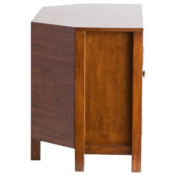 Harper Blvd Hurley Walnut Corner Tv Stand – Free Shipping Today Intended For Most Recent Wood Corner Tv Cabinets (Image 15 of 20)