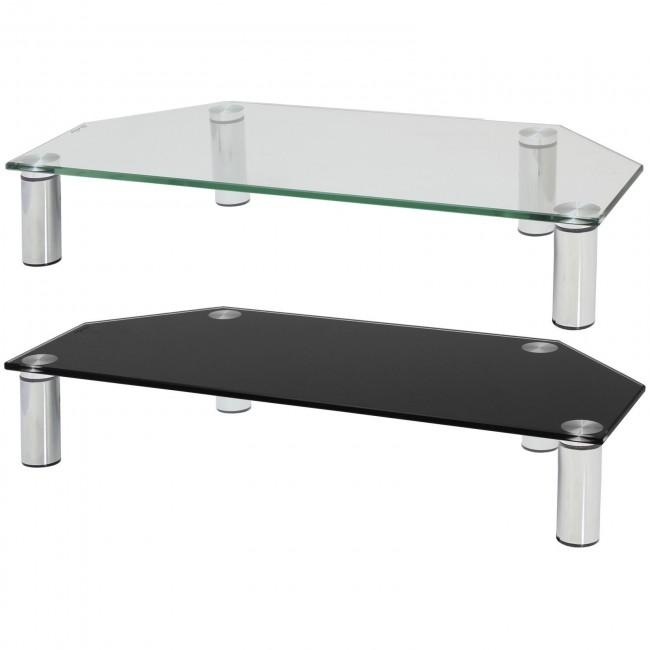 Hartleys Glass Corner Tv Monitor Riser Shelf – Choice Of Size & Colour For Most Recently Released Tv Riser Stand (Image 4 of 20)