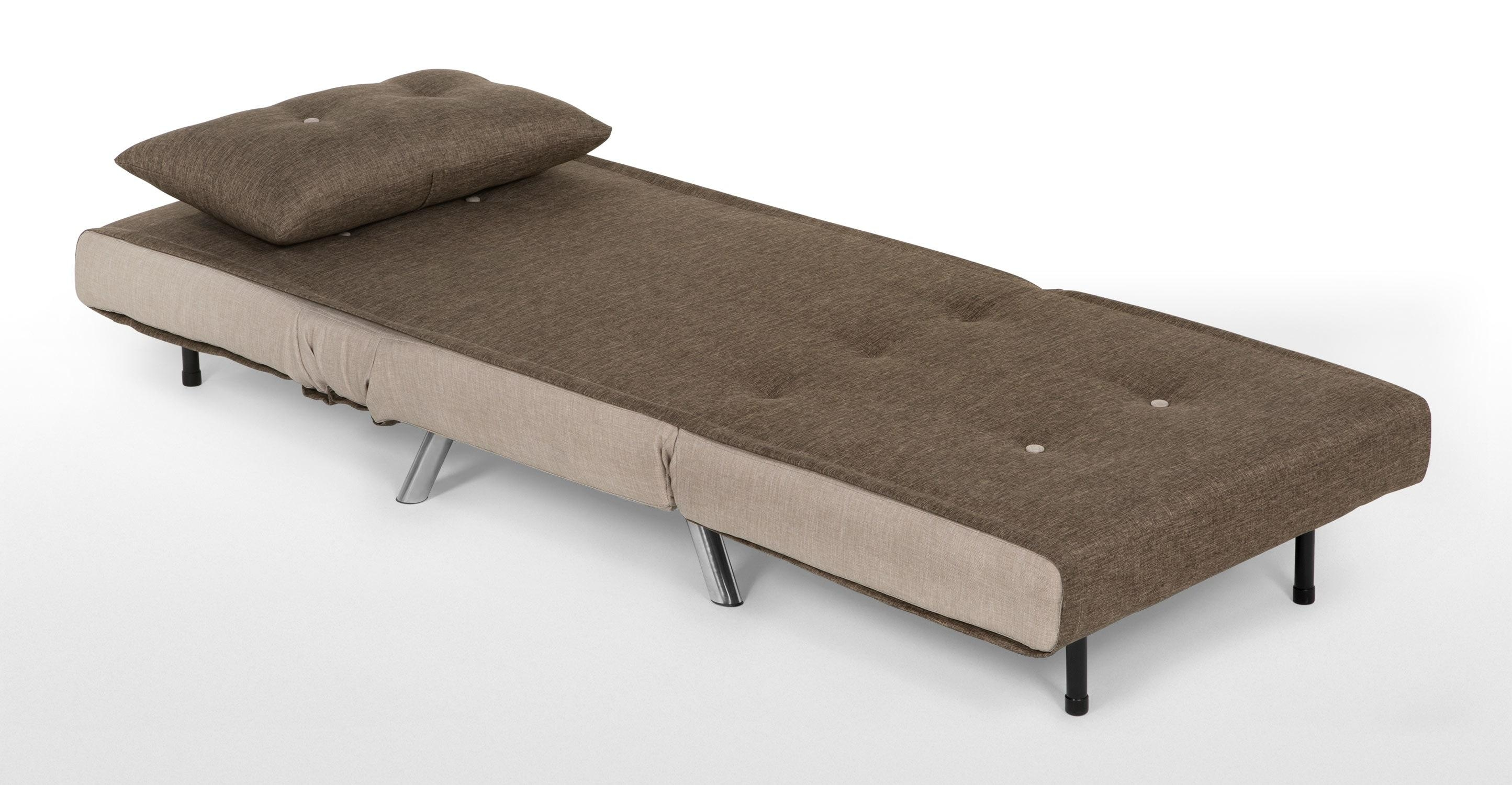 Haru Single Sofa Bed, Quartz Blue | Made Throughout Single Chair Sofa Beds (Image 9 of 22)