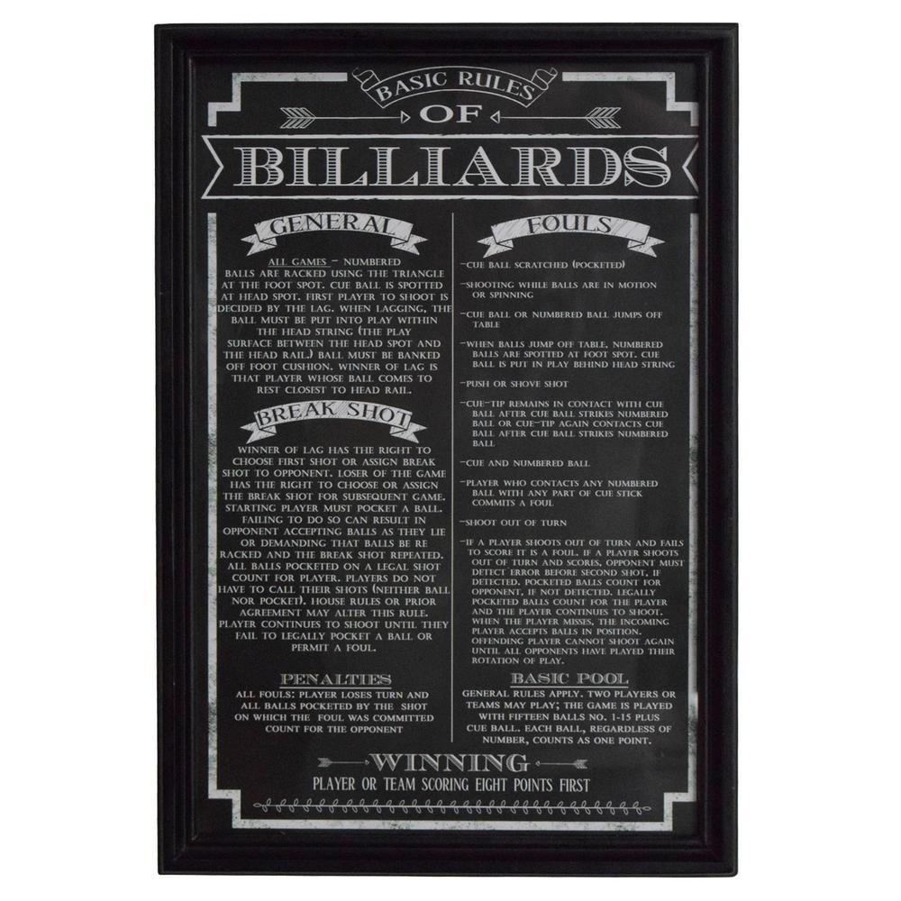 Hathaway Billiard Game Rules Wall Art Bg2029Bl – The Home Depot Throughout Billiard Wall Art (Image 11 of 20)