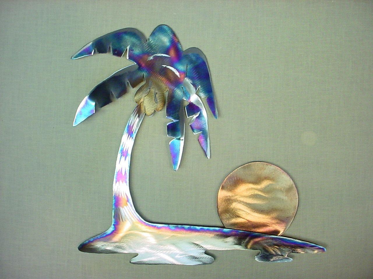 Hawaiian Pacific Tropical Island Hawaii Palm Tree Steel Metal Intended For Palm Tree Metal Wall Art (Image 7 of 20)