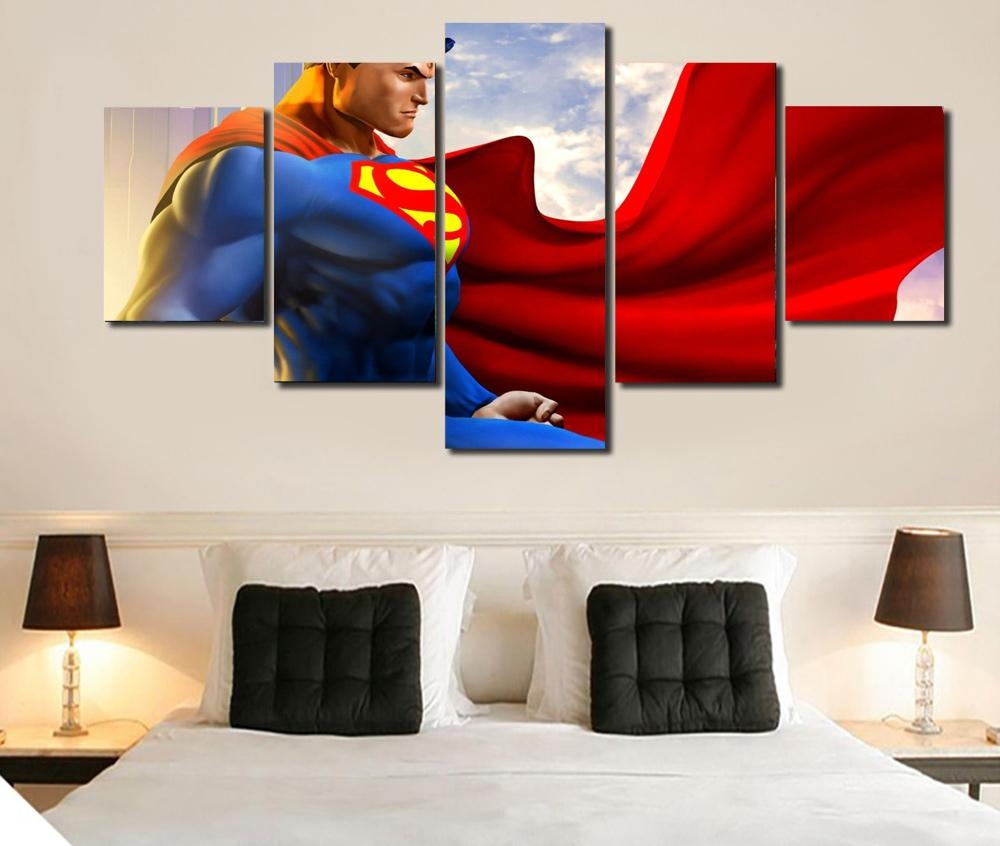 Hd 5 Piece Canvas Art Superman Wall Art Decoration For Home Living In Five Piece Wall Art (View 14 of 20)