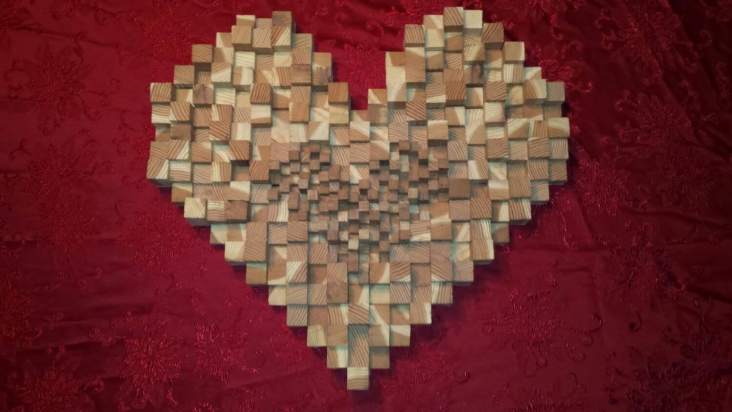 Heart Art Red Wood Wall Decor Wall Sculpture Home Decor Wood For Talking Dead Wood Wall Art (View 11 of 20)