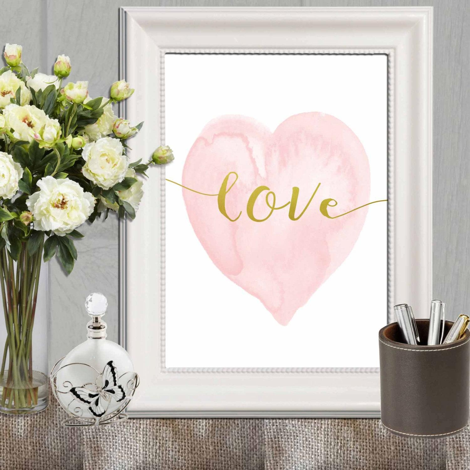 Heart Print Pink Nursery Heart Wall Art Pink Gold Heart Art For Pink And White Wall Art (Image 8 of 20)