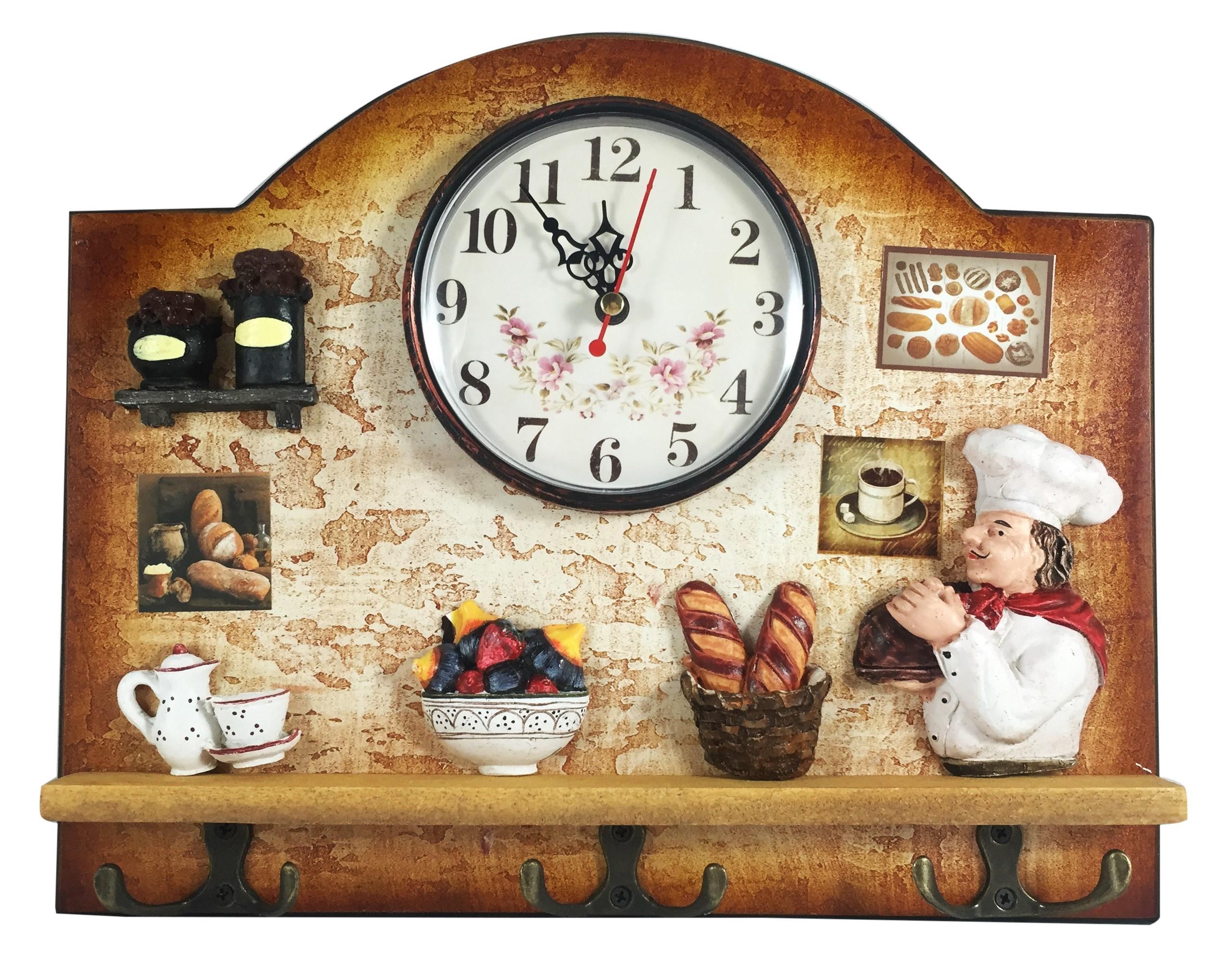 Heartful Home Italian Chef Wall Decor Clock With Key Holder Hooks Inside Italian Chef Wall Art (Image 8 of 20)