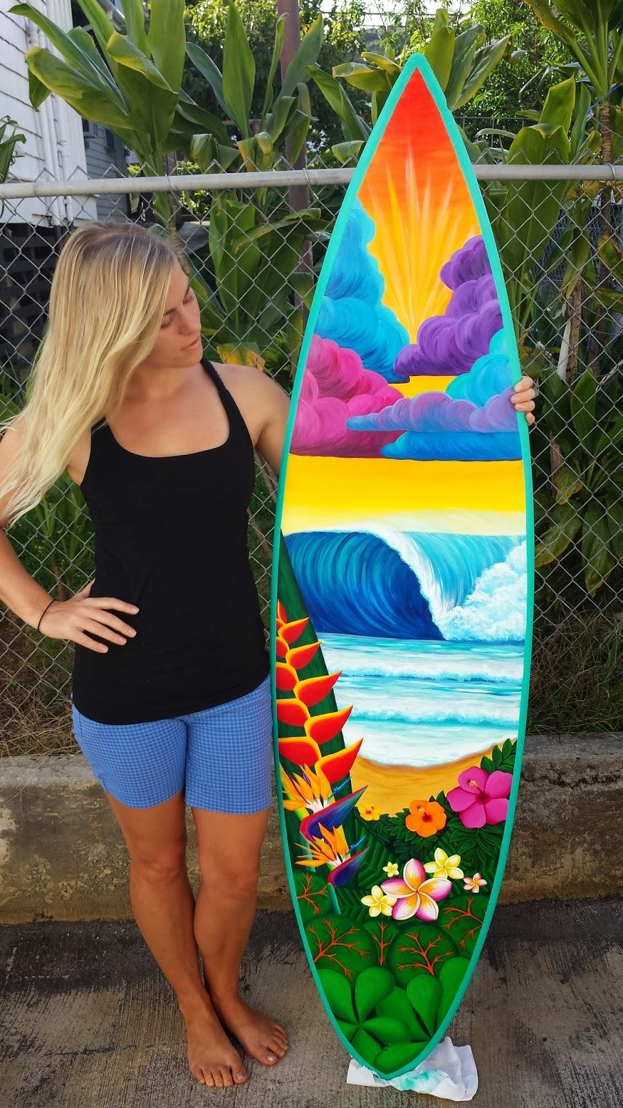 Heaven On Earth Surfboard Wall Art | Stephanie Boinay Art Pertaining To Surf Board Wall Art (View 11 of 20)
