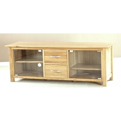 Helsinki Oak Large Glass Door Tv Cabinet For Latest Wooden Tv Cabinets With Glass Doors (Image 7 of 20)