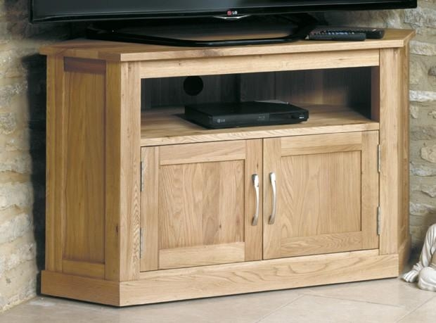 Henley Oak Corner Television Cabinet Within Latest Oak Corner Tv Cabinets (Image 8 of 20)