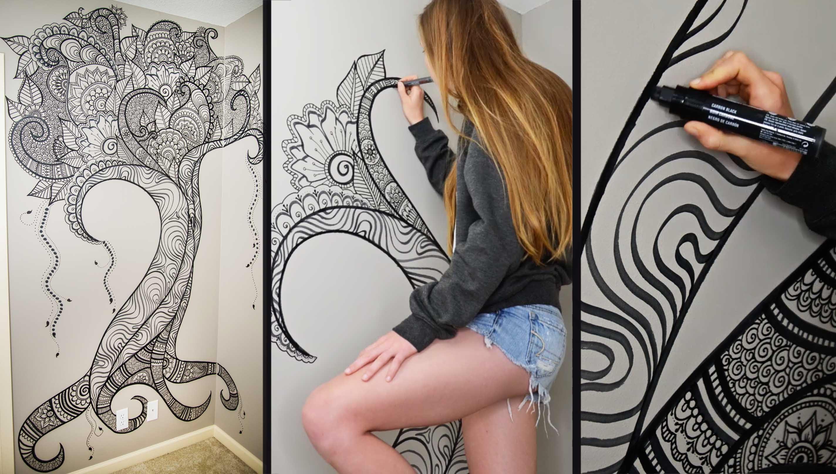 Henna Tree Wall Art | Mehndi Design – Youtube With Sharpie Wall Art (View 7 of 20)