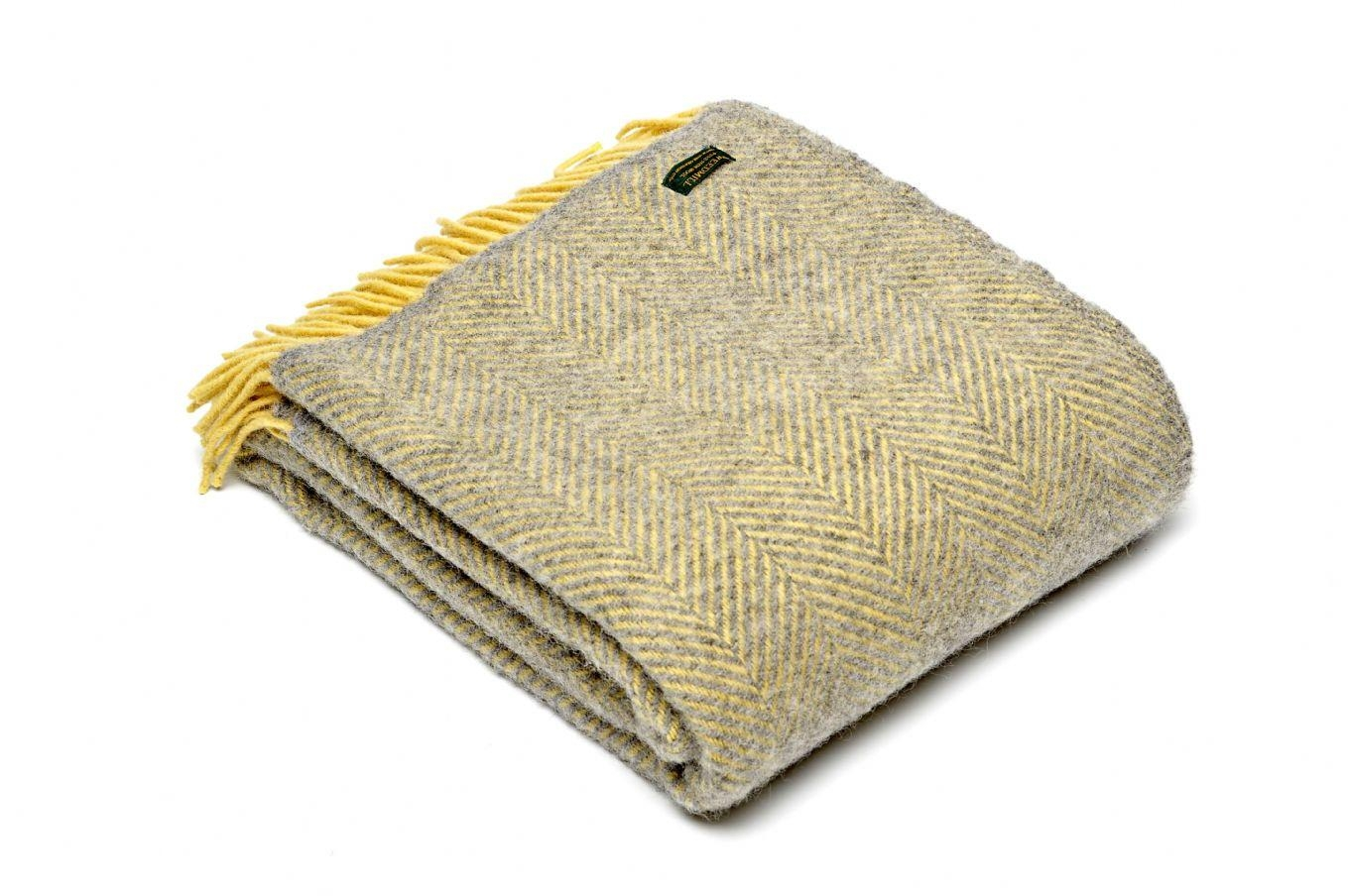 Herringbone Silver Grey & Lemon Yellow Wool Blanket Throw Regarding Grey Throws For Sofas (View 11 of 20)