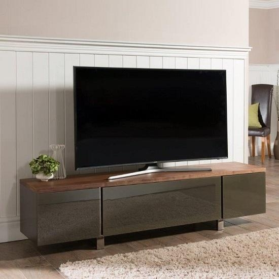 Hessel Wooden Tv Cabinet Large In Walnut With Grey Glass In Best And Newest Walnut Tv Cabinets With Doors (Image 3 of 20)