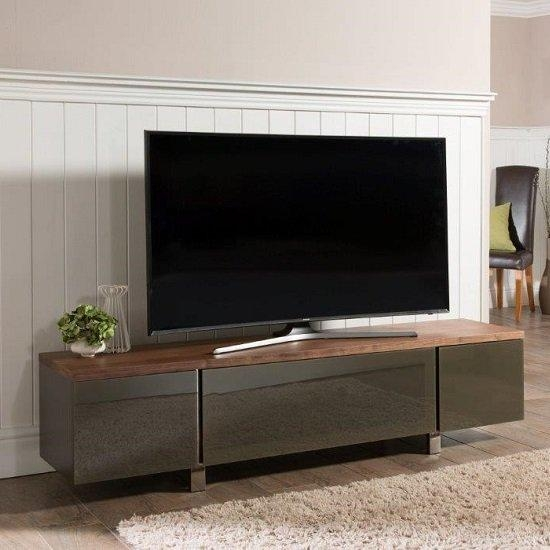 Hessel Wooden Tv Cabinet Large In Walnut With Grey Glass Within Newest Glass Tv Cabinets With Doors (View 11 of 20)