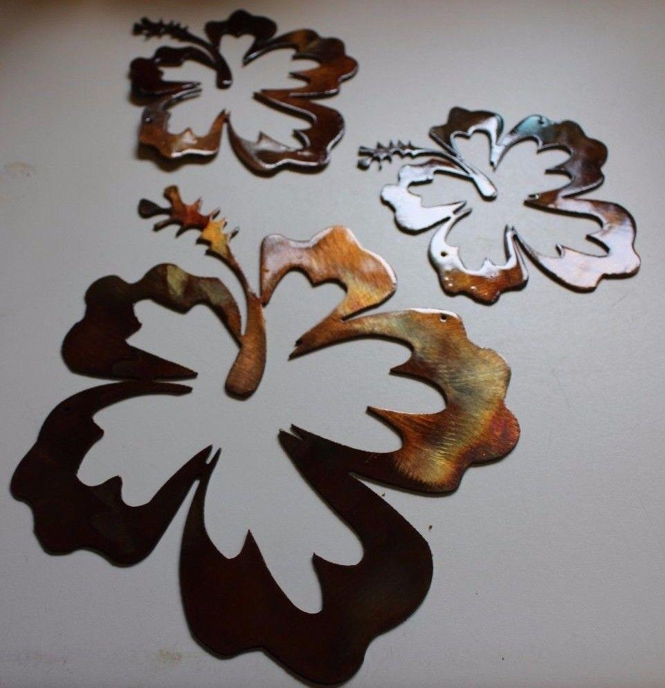 Hibiscus Flower Tropical 3 Piece Set/trio Intended For Hawaiian Metal Wall Art (Image 10 of 20)