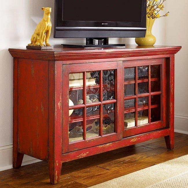 Hidden Treasures Entertainment Console (Red) – Tv Stands And Tv With Regard To Latest Red Tv Stands (Image 7 of 20)