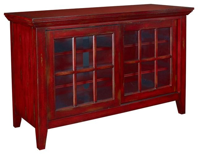 Hidden Treasures Entertainment Console – Transitional Regarding Latest Red Tv Stands (Image 6 of 20)