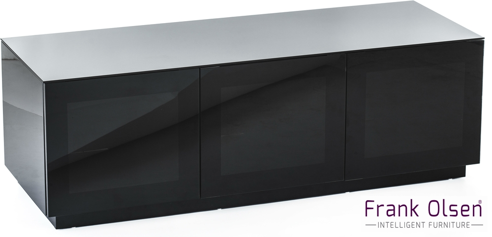 High Gloss Black Tv Cabinet 140 Cm With Remote Friendly Doors | Tv For Best And Newest Black Tv Cabinets With Doors (Image 13 of 20)