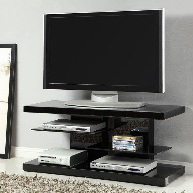 High Gloss Black Tv Stand W/ Glass Shelves Coaster Furniture With Latest High Gloss Corner Tv Unit (View 11 of 20)