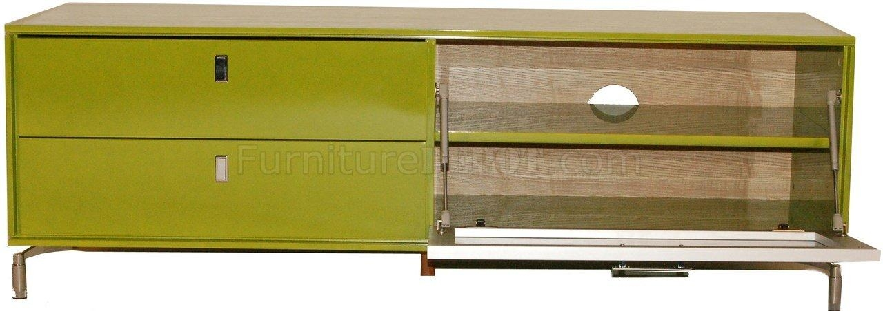 High Gloss Finish Modern Tv Stand W/pull Down Glass Door Within 2017 Green Tv Stands (View 18 of 20)