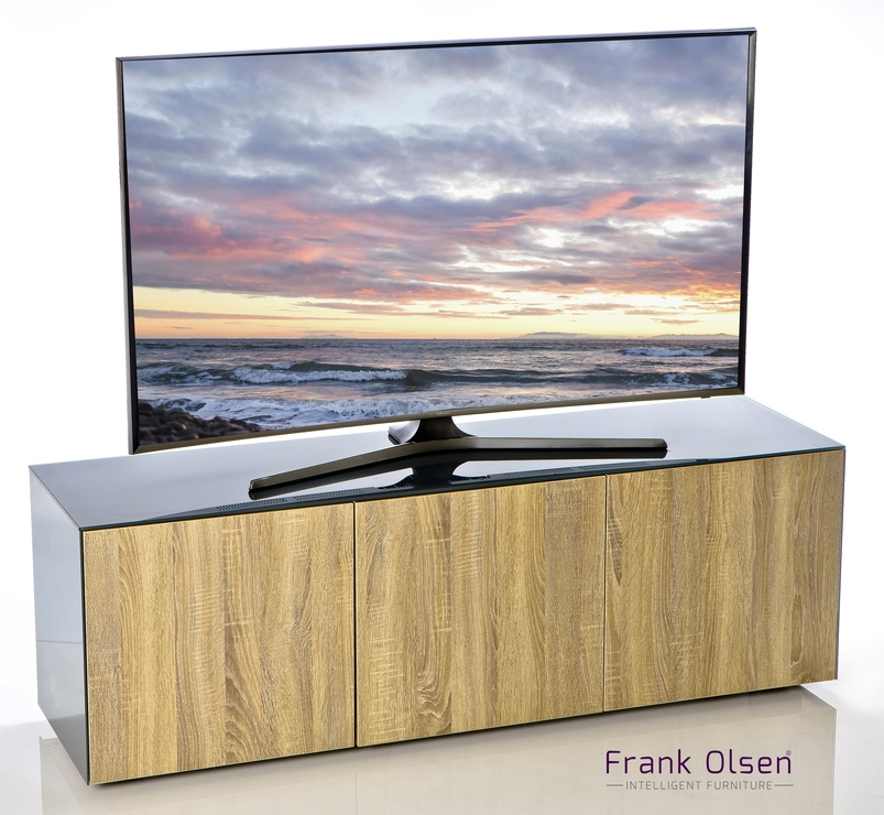 High Gloss Grey And Oak Intelligent Tv Cabinet 150Cm | Tv & Media For Current 150Cm Tv Unit (Image 7 of 20)