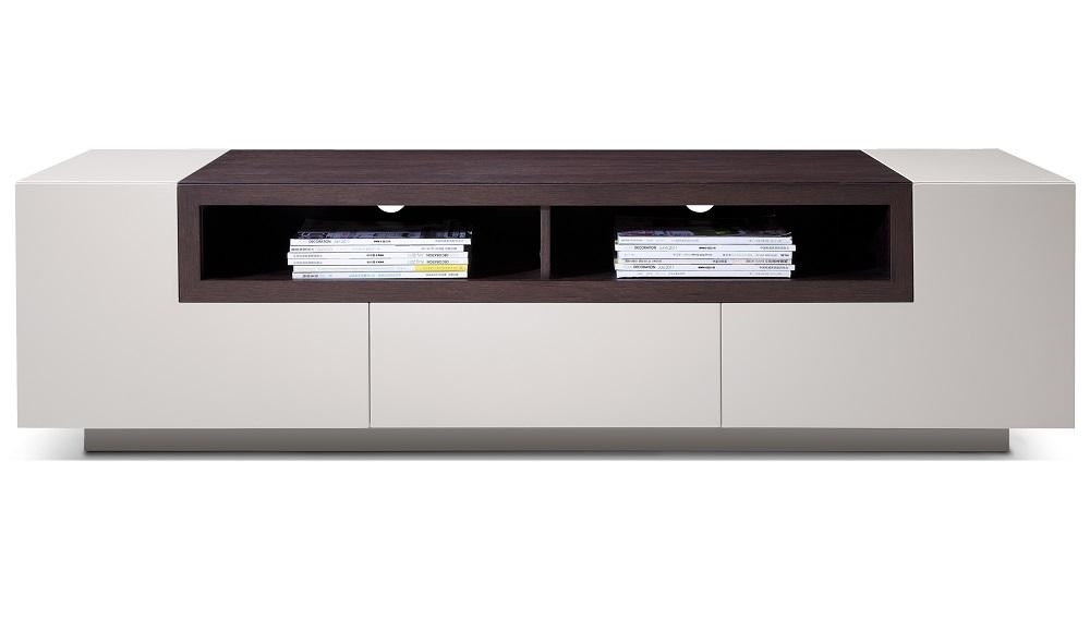 High Gloss Grey Tv Stand Media Console With Dark Oak Shelves For Most Popular Grey Tv Stands (Image 14 of 20)