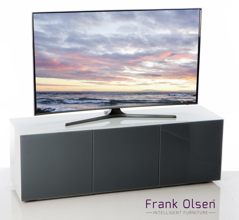 High Gloss White And Grey Tv Cabinet 150Cm With Wireless Phone regarding Current 150Cm Tv Unit