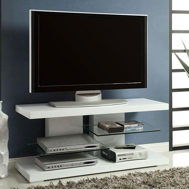 High Gloss White Tv Stand W/ Glass Shelves Coaster Furniture Throughout Recent Gloss Tv Stands (Image 8 of 20)