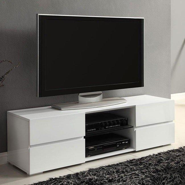 High Gloss White Tv Stand W/ Storage Drawers Coaster Furniture Regarding Most Popular White High Gloss Corner Tv Unit (View 12 of 20)