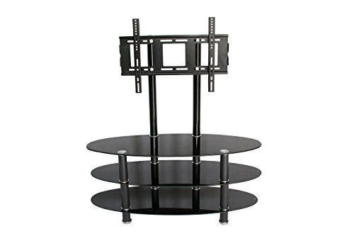 Hodedah Hitv2501 Oval Glass Tv Stand With Mount | Ebay With Regard To Most Recent Oval Glass Tv Stands (Image 8 of 20)