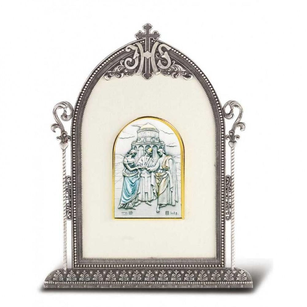 Home Accents, Decor, House Blessings : 6 1/2X4 1/2In Silver Frame with Italian Silver Wall Art