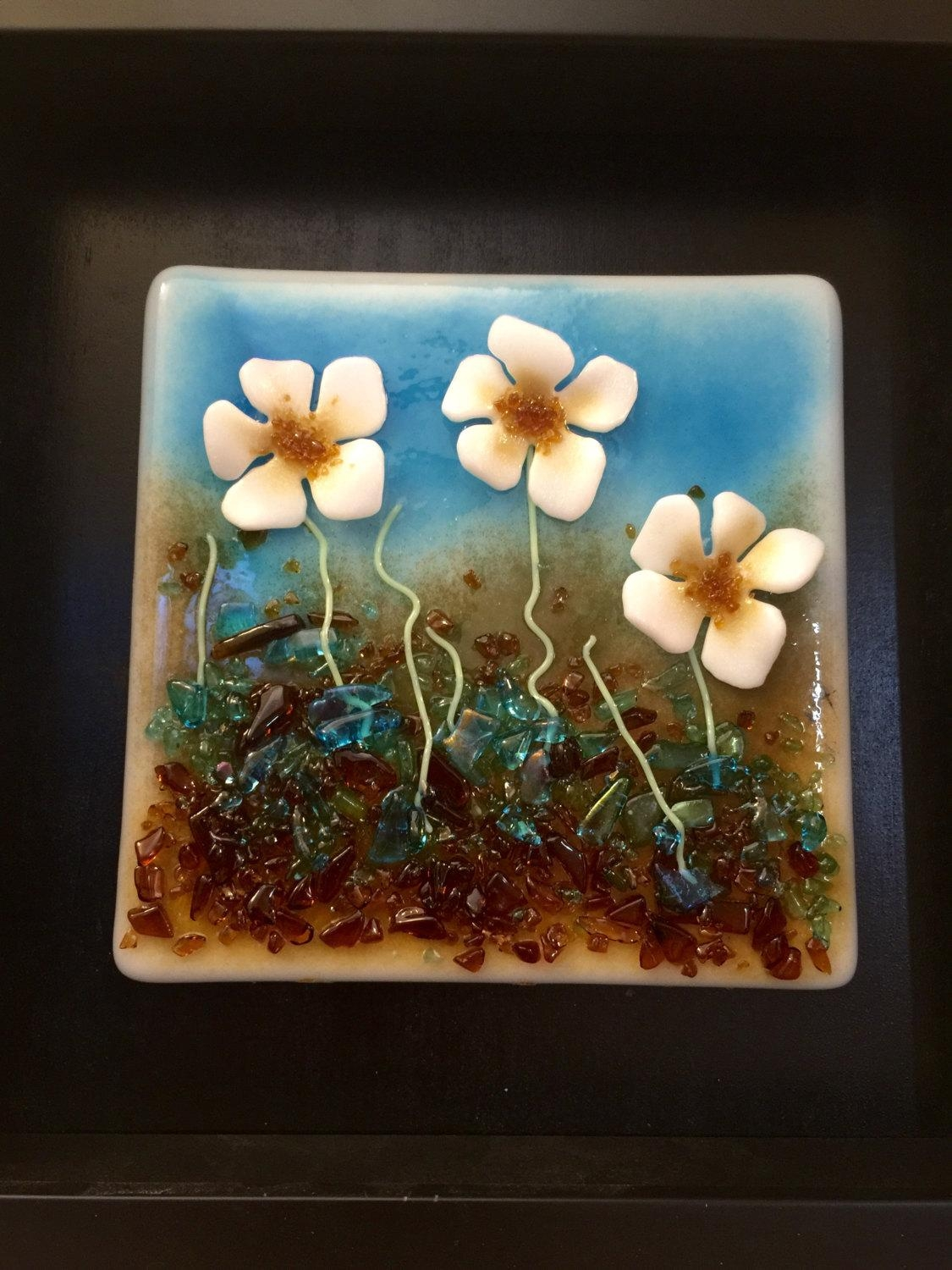Home Decor, Fused Glass, Handmade Fused Glass, Wall Panel, Fused Within Fused Glass Flower Wall Art (View 12 of 20)