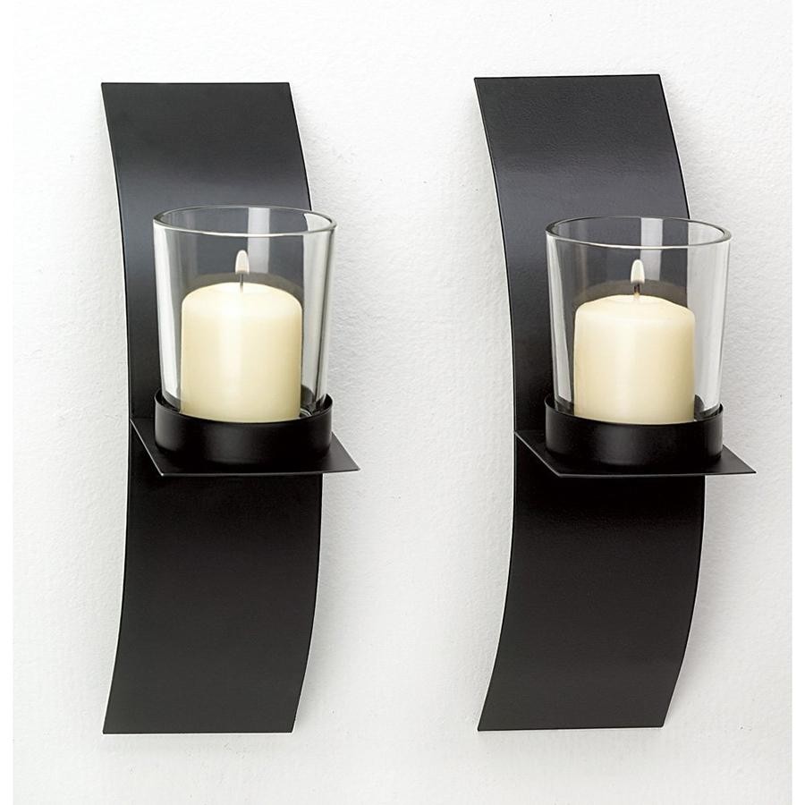 Home Decor Modern Art Candle Holder Wall Sconce Black Wire Metal Within Metal Wall Art With Candles (Image 3 of 20)