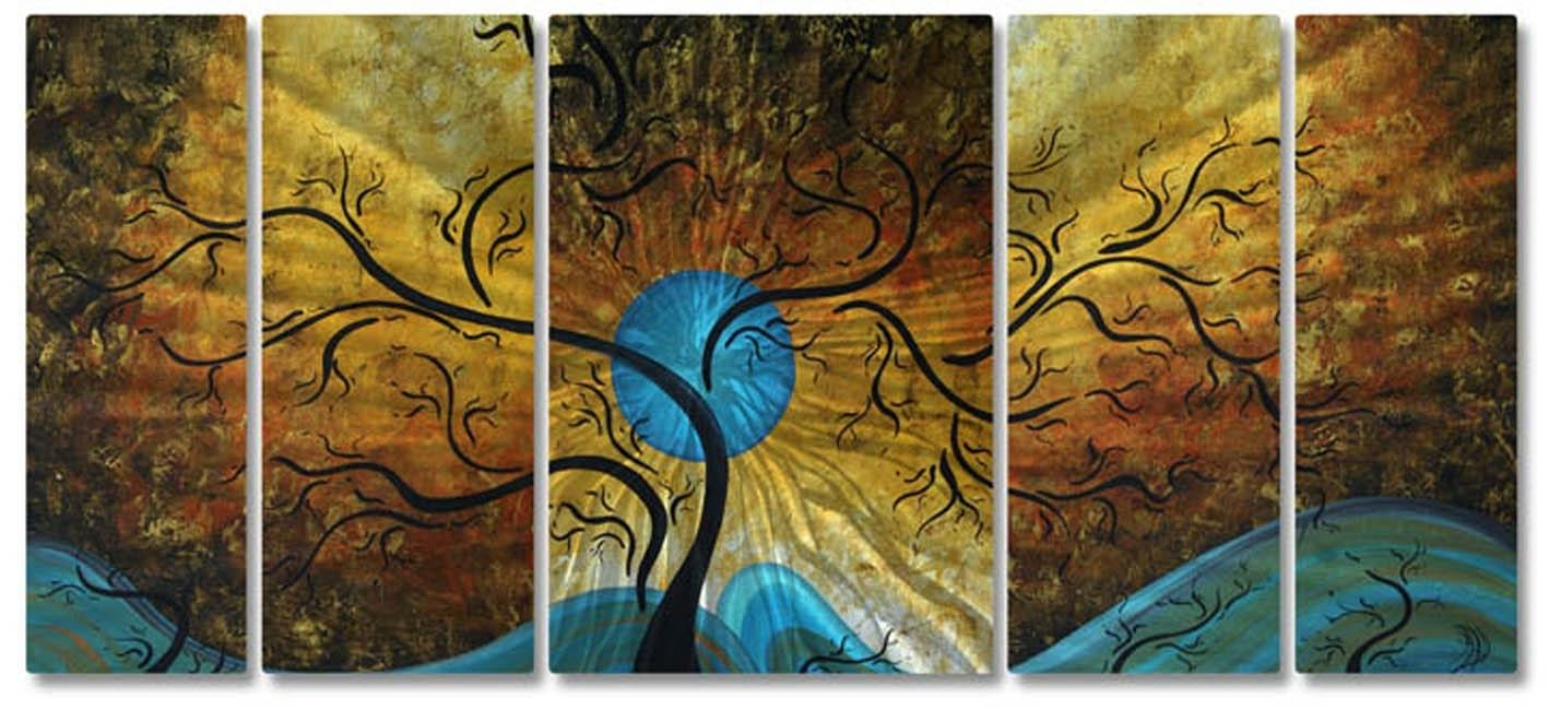 Home Design : Blue And Brown Metal Wall Art Asian Medium Awesome Intended For Blue And Brown Wall Art (Image 8 of 20)