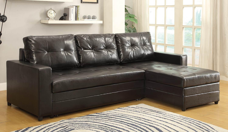 Homelegance Kemen Elegant Lounger Sofa Bed – Dark Brown 4837 Throughout Sofa Lounger Beds (Image 9 of 20)