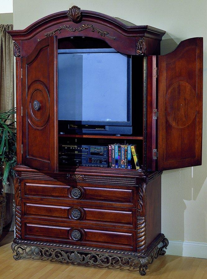 Homelegance Madrid Tv Armoire With Breakaway Doors 829 7 With Latest Cherry Tv Armoire (Image 14 of 20)