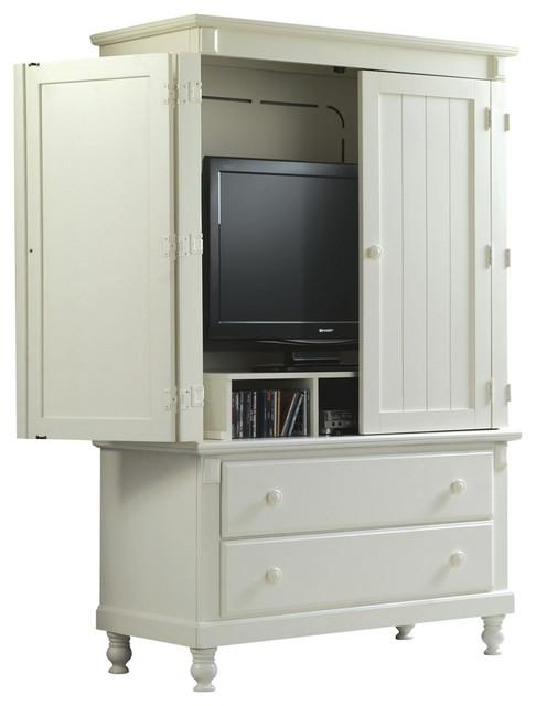 Homelegance Pottery 44 Inch Tv Armoire In White – Traditional With Regard To 2018 Tv Hutch Cabinets (Image 17 of 20)