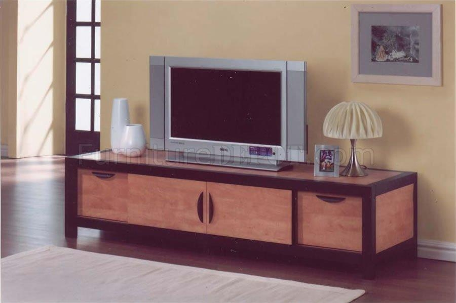 Honey Maple Finish Modern Tv Stand With Wooden Sliding Doors Pertaining To Best And Newest Maple Tv Cabinets (Image 6 of 20)
