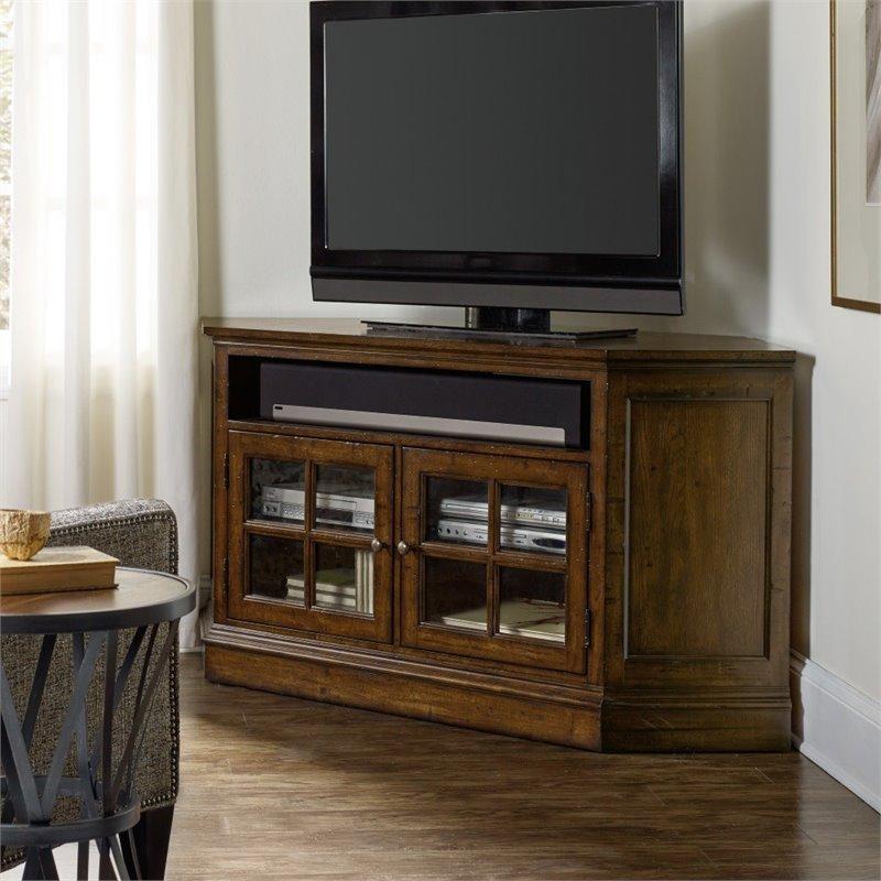 Hooker Furniture Brantley 2 Door Corner Tv Stand In Dark Wood Regarding Best And Newest Dark Wood Corner Tv Stands (View 7 of 20)