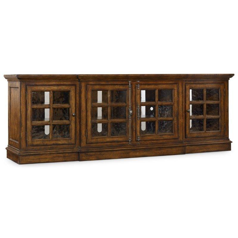 Hooker Furniture Brantley 4 Door Tv Stand In Dark Wood – 5302 55492 Throughout Best And Newest Dark Wood Tv Cabinets (View 16 of 20)