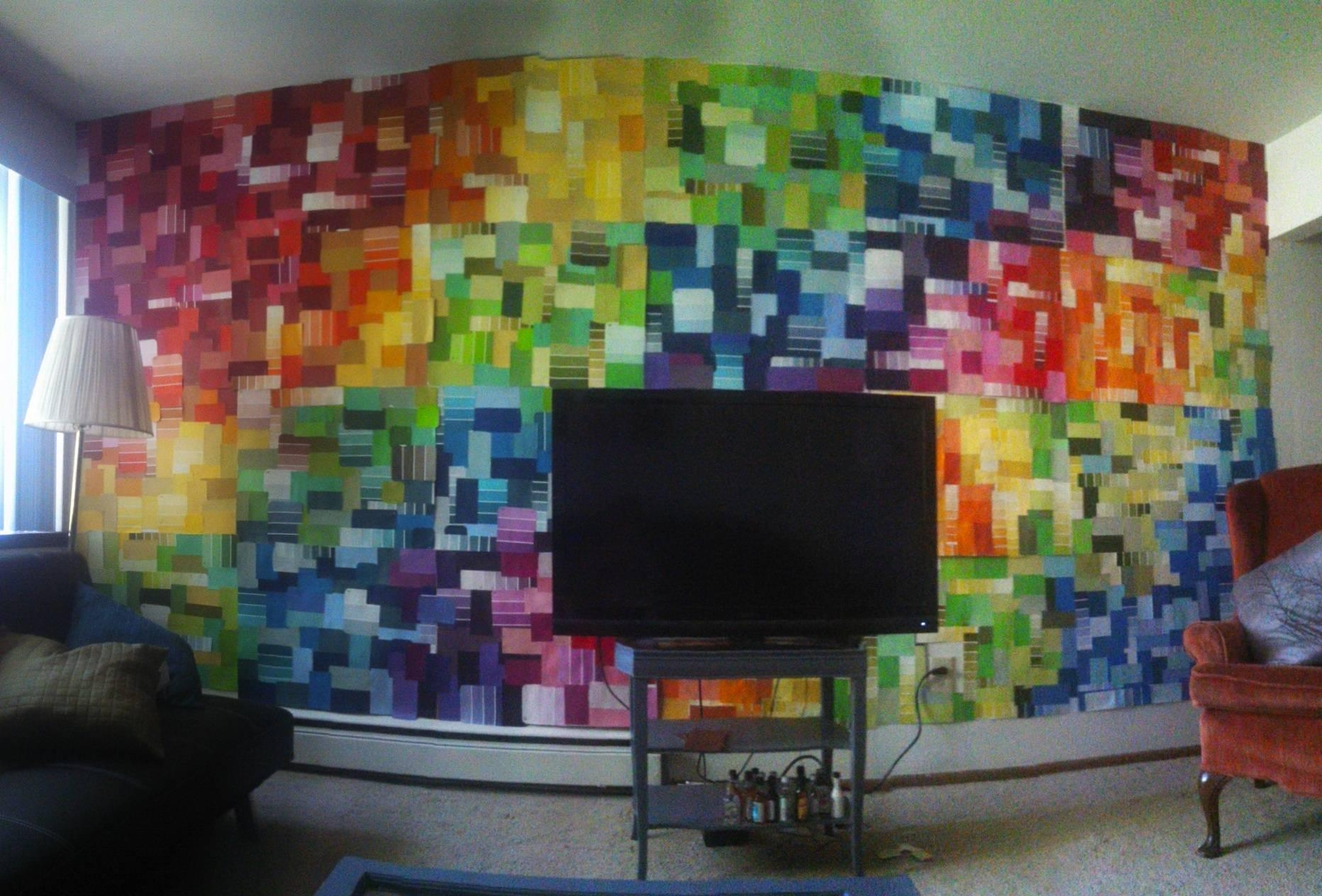 How I Cut In Paint On A Wall To Textured Ceiling Youtube ~ Loversiq Within Paint Swatch Wall Art (Image 13 of 20)