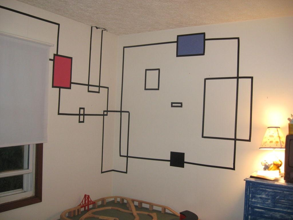20 photos duct tape wall art wall art ideas for Duct tape bedroom ideas