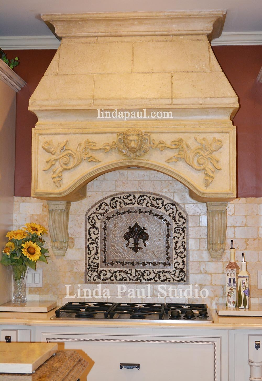 How To Install Metal Tile Accents And Stone Mosaic Medallions Intended For Medallion Tiles Wall Art (Image 5 of 20)