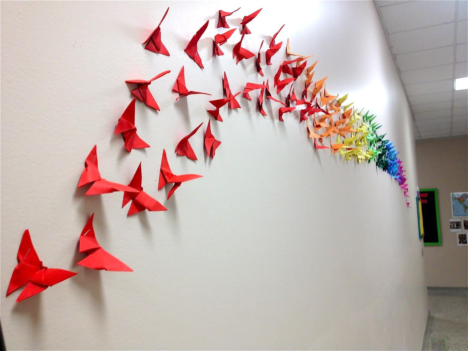 How To Make An Origami Butterfly | Cool2Bkids With Regard To Diy Origami Wall Art (Image 12 of 20)