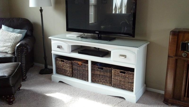 How To Make Tv Stand Makeover – Diy & Crafts – Handimania Within Best And Newest Tv Stands With Baskets (Image 14 of 20)