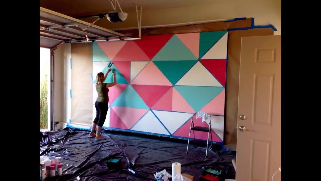 How To Paint A Giant Geometric Feature Wall / Mural – Youtube Regarding Abstract Art Wall Murals (Image 10 of 20)